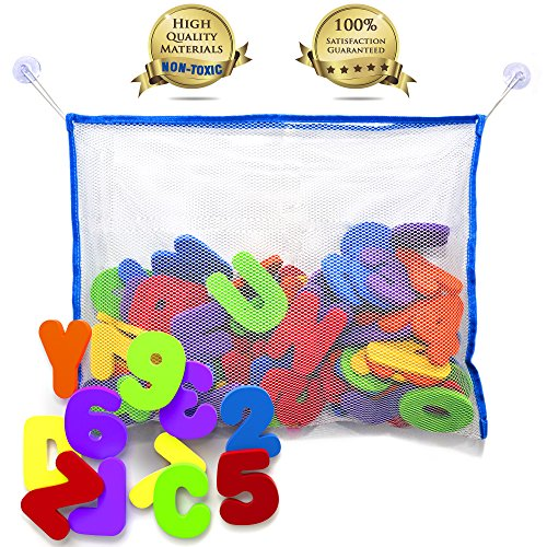Bath Toy Organizer with FREE 36 Alphabet Letters for Bath | The Best Bath Toy Storage Solution with Educational Bath Toys - Bath Letters and Numbers | GET IT NOW WITH BONUS - TODDLER CARE GUIDE BOOK