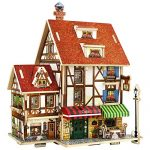 DIY 3D Wood House Puzzle Kids Wooden Toy House Coffee Lodge Home Coffee Cafe Shop Jigsaw Model Kit