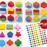 INTELLITOYZ Set of 3 Geometric Wooden Puzzles for Toddlers and Babies to learn Math, Shapes & Color Recognition with BONUS stickers