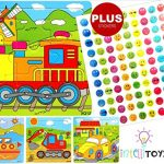 INTELLITOYZ Set of 4: 9 Piece Colorful Wooden Educational Puzzles with BONUS set of stickers. Includes Train, Tractor, Car and Ship