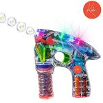 Light Up LED Transparent Bubble Gun Blaster Toy - Light Up LED, Transparent, & Battery Operated - For Kids, Boys, Girls, Playing, Outdoors, Indoors, Gifts, & Party Favors - Kidsco