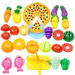 Play Food, WOLFBUSH 24Pcs Plastic Fruit Vegetable Kitchen Cutting Toy Food Playset Pretend Play Food Sets