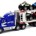Off Road Police Transporter Trailer 1:32 Children's Kid's Friction Toy Truck Ready To Run w/ 4 Toy Trucks, No Batteries Required (Colors May Vary)