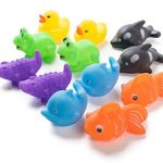 """12 Pack Squirting Bath Toys 3"""" Rubber Assorted Wildlife Animal Character Squirts Baby and Children Bath Toys in Assorted Vivid Colors 1 Dozen"""