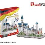 128 Pcs 3d Puzzle Cubic Fun Model MC174H Includes Booklet with Instructions And The History of the Magnificent Palace NEUSCHWANSTEIN CASTLE In Germany, Popular Castle in Europe, Great Gift for Boys and Girls
