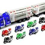 Race Motorcycle Trailer Children's Friction Toy Transporter Truck Ready To Run 1:32 Scale w/ 8 Toy Motocycles (Colors May Vary)