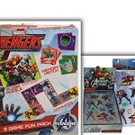 "Must Have Marvel Avengers Fun Packed Bundle- 2 Items: Avengers 3 Game Fun Pack (18 x 24"" Floor Puzzle + Dominoes + Memory Match Game) & Personalized Raised (3D) Sticker Sheet"