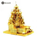 2016 Microworld 3D Metal Puzzle Russia The Church of the Transfiguration Building Model J028-G DIY 3D Laser Cut Assemble Jigsaw Toys – Gold