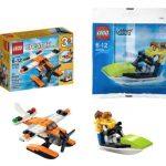 LEGO Sea Adventures 2 Set Bundle - Creator 3-in-1 Sea Plane 31028 & City Jet Ski w/ Minifigures 30015