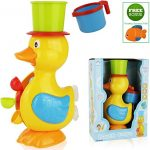 FUNERICA Big Duck Bath Toy for Toddler/Baby/Kids Ages 1 - 6. Bright Colors - Interactive and Fun - Educational Bathtub Toy for Girls & Boys! Included Bonus: Little Water-squirting Fish