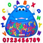 Hello Hippo Bath Toy Organizer with Free Foam Letters and Numbers: Toy Storage Solution for a Clutter-Free Tub; Bathroom Organizer with Strong Suction Cups That Brings Fun on Bathing Time!