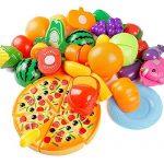 Kitchen Toys Fun Cutting Fruits Vegetables Pretend Food Playset for Children Girls Boys Educational Early Age Basic Skills Development 24pcs Set