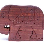 Christmas gift Wooden mystery Puzzle Box and Toy – Elephant shape … …