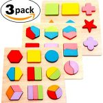 "INTELLITOYZ Set of 3 Large 7.9"" Geometric Chunky Wooden Puzzles for children aged 3 and over and to learn Math, Shapes & Color Recognition."