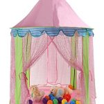 "TINEO 55"" x 41"" Sequins Kids Play Tent Princess Castle Children Playhouse with Storage bag for Indoor Outdoor"