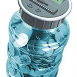 Digital Coin Bank Savings Jar – Automatic Coin Counter Totals all U.S. Coins including Dollars and Half Dollars – Transparent Blue