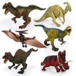 "Kids Imaginative Dinosaurs Small & Large Plastic Assorted Toy Dinosaurs | 6 Piece Set, 6.4"" - 10.4"" 