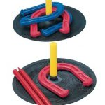 Champion Sports Rubber Horseshoe Game for Tailgating, Camping, Backyard and Gym (Includes: 4 Rubber Horseshoes, 2 Rubber Mats with Yellow Pegs, and 2 Red Plastic Dowels)