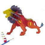 Miscy 3d Puzzle Art Projects Craft Wood 3d Puzzles for Kids Ages 4-8 Assemble Paint DIY Animal Crafts Lion