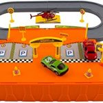 WolVol Parking Garage Toy Playset - Includes 3 Die-cast Cars and 1 Die-cast Helicopter
