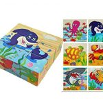 9pcs/set 3D Cartoon Wooden Puzzle Education Learning Tools Toys Baby Six Sides Jigsaw Puzzle (Ocean)