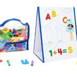 EduKid Toys Tabletop MAGNETIC EASEL & WHITEBOARD (2 Sided) & 72 Magnetic LETTERS