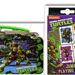 Teenage Mutant Ninja Turtles Unique Game Night & Lunch Or Crafts Storage Bundle- 2 Items: 48 Piece Puzzle in a 3D Molded Tin Lunch Box & Jumbo Playing Cards