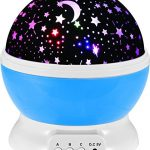 IREALIST Starry Night Light Lamp Romantic Rotating Star Projector Lamp for Christmas, Rotation Night Projection for Children Kids Bedroom (Blue)