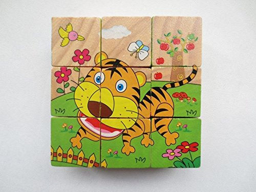 Six painted wooden puzzles for Child kids Three-dimensional Six Face Jigsaw Puzzle Toys Children Educational Early Childhood Toy