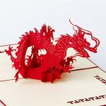 HUNGER Handmade 3D Pop Up Chinese Dragon Birthday Cards Creative Greeting Cards Papercraft