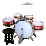 Jazz Drum Set with Chair - Music Toy Instrument for Kids (10 Pc)