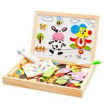 Multifunctional Educational Wooden Jigsaw Puzzle Toys Twelve Chinese Zodiac Signs Wooden Magnetic 3D Puzzles Baby's Drawing Easel Board with Blackboard & Whiteboard