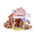 Shalleen Wooden DIY 3D Puzzle Jigsaw Building Shop Model Kid Toy America Western Bar