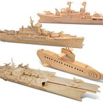 Puzzled Submarine, Destroyer, Battleship and Aircraft Carrier Wooden 3D Puzzle Construction Kit by Puzzled