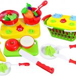 CoolToys Fruit and Vegetable Cutting Playset - Pretend Stovetop and Cooking Utensils in Plastic Grocery Basket (20 Pieces)