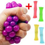 Stress Relief Ball + 4 Fidget Toys Anti Stress Squeeze Grape Ball Therapy Sensory Fidget Toy For Kids And Adults Help Focus Mesh Squishy And Fun Figit ADHD Hand Educational Chewy Baby toy