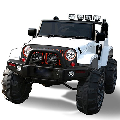 exclusive ride on car 12v jeep wrangler style toy for kids boys and girls with opening doors music lights and remote control white