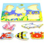 Chakit Baby Wooden Cartoon Magnetic Fishing Game Jigsaw Puzzle Board 3D Jigsaw Puzzle Children Education Toy juguetes educativos