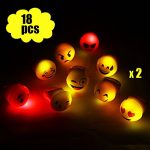 Light up Emoji Rings, LOOPJOYGAME LED Flashing toys for Kids 18 pack 9 faces