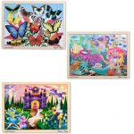 Melissa & Doug Fairy Fantasy, Butterfly Garden, and Mermaid Fantasea 48 Piece Wooden Jigsaw Puzzle Bundle (Set of 3)
