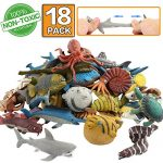 Ocean Sea Animal,18 Pack Rubber Bath Toy Set,Food Grade Material TPR Super Stretchy, Some Kinds Can Change Colour,Zoo World Squishy Floating Bathtub Toy Figure Party,Realistic Shark Octopus Fish