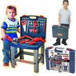 """Realistic Toy Tool Set Workbench Kids Workshop Toolbench with """"electric"""" drill"""