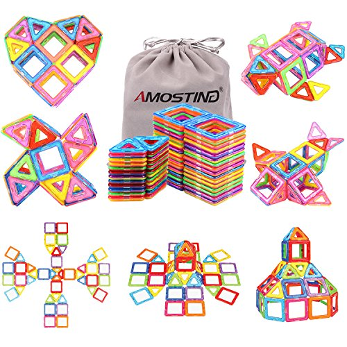 Magnetic Blocks Building Set for Kids, Magnetic Tiles Educational Building Construction Toys by idoot for Boys and Girls with Storage Bag - 56pcs