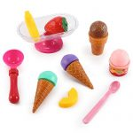 Ice Cream Sundae Party with Fruits - Scoop & Stick Play Food Toy Set for Kids