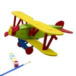 Miscy 3d Puzzle Arts Projects Craft Wood Airplanes 3d Puzzles for Kids Ages 4-8 Assemble Paint DIY Animal Crafts Biplane