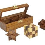 Indian Glance 3D Puzzles for Kids| Adults | Teens | Boys | Girls | Fun- Includes Wood Interlocking Blocks, Diagonal Burr, and Snake Cube in Storage Box - Wooden Puzzle Games Set