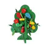 1 Pack Children Beaded Early Childhood Educational Toys,Wooden Fruit Trees Green Tree Threading Stringing Beads Building and Play Blocks Toy