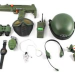 Special Combat '570 Force Army Friction Toy Gun Complete Combo Set w/ Friction Uzi Toy Gun, Toy Mask, Helmet, Binoculars, Watch, Whistle, Walkie Talkie, Grenade, Compass, Dog Tags, Headset, Canteen