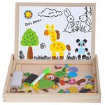 Wooden Kids Toy Magnetic Board Puzzle Games 100 Pieces, Satu Brown Double Side Jigsaw &Drawing Sketchpad Writing Dry Erase Board Chalkboard Educational Toys (Animal)