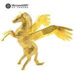 2016 Microworld 3D Metal Puzzle Pegasus Fly Horse Model Z004 DIY 3D Laser Cut Jigsaw Toys For Audit – Gold